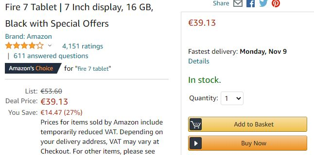 Amazon.de Fire 7 tablet